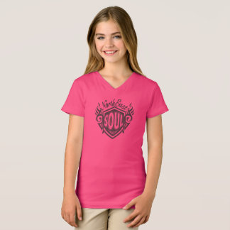Girls Pink North East Soul V Neck T T-Shirt