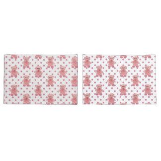 Girls Pink Polka Dot Teddy Bear Pillow Case Set