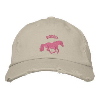 Girls pink rodeo horse riding embroidered baseball caps
