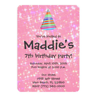 Girls Pink Sparkle 7th Birthday Party Invite