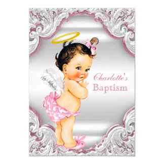 Girls Pink White Angel Girl Baby Baptism Card