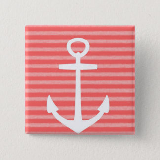 Girls Pink & White Stripe Nautical 15 Cm Square Badge