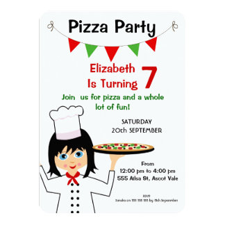 Girls Pizza Party Birthday Invitation