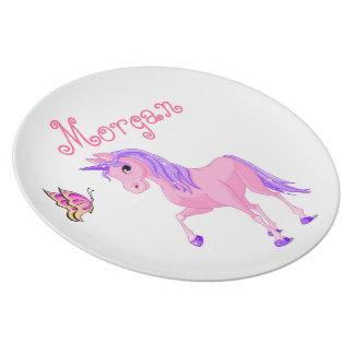 Girls plate, butterfly, unicorn plate