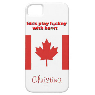 Girls Play Hockey with Heart!-Canadian flag/Name iPhone 5 Covers