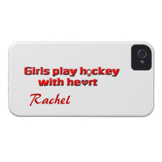 Girls play hockey with heart!-Female Sign+Name iPhone 4 Case