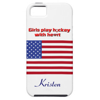 Girls Play Hockey with Heart!-U.S. flag+Name iPhone 5 Cover