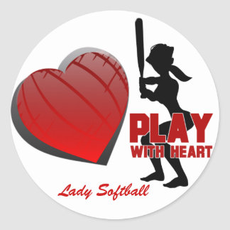 Girls Play With Heart Softball Stickers
