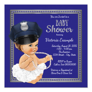 Girls Police Baby Shower Invitations