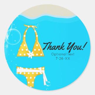 Girls Pool Party Bikini Birthday Swim Custom Favor Classic Round Sticker