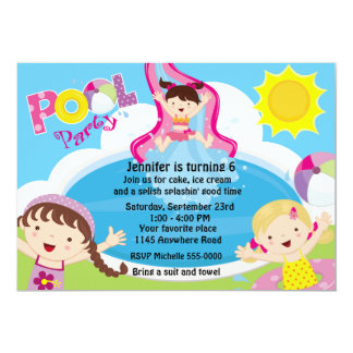 Girls Pool Party Birthday 13 Cm X 18 Cm Invitation Card