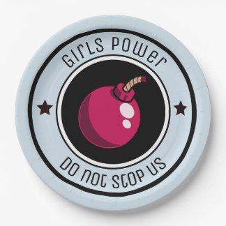 Girls power paper plate