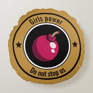 Girls power round cushion