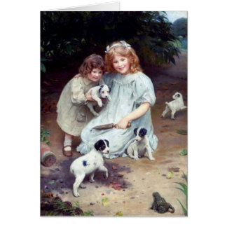 girls puppies toad dogs children sisters card