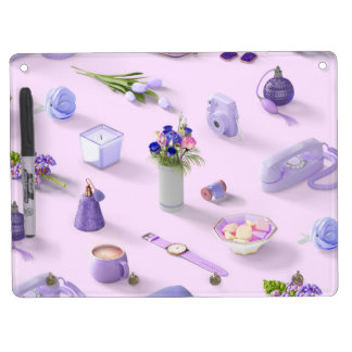 Girl's Purple Dream Dry Erase Board With Key Ring Holder