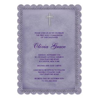 Girls Purple First Communion Card