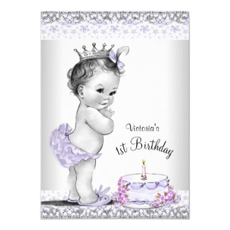 Girls Purple Gray First Birthday Party Card