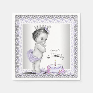 Girls Purple Princess 1st Birthday Disposable Napkins