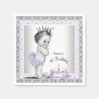 Girls Purple Princess 1st Birthday Disposable Serviette