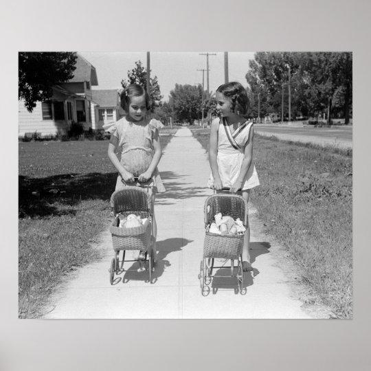 Girls Pushing Baby Buggies, 1941. Vintage Photo Poster