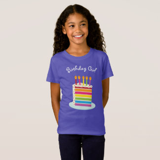 Girl's Rainbow Birthday Cake Slice T-Shirt