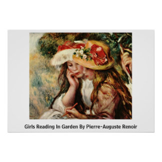 Girls Reading In Garden By Pierre-Auguste Renoir Poster
