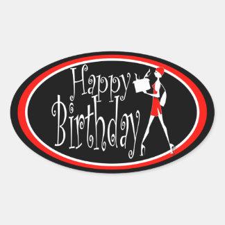 Girls red black birthday shopping oval sticker