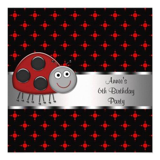 Girls Red Ladybug Birthday Party Personalized Invites