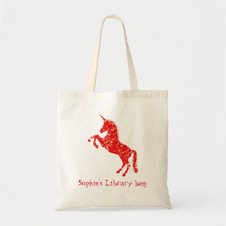 Girl's red unicorn book name library bag