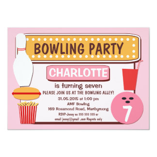 Girls Retro Bowling Birthday Party Invitation