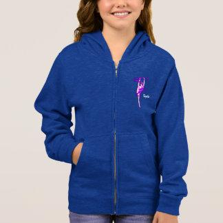 Girls Rhythmic Gymnastic Ribbon Fleece Zip Hoodie
