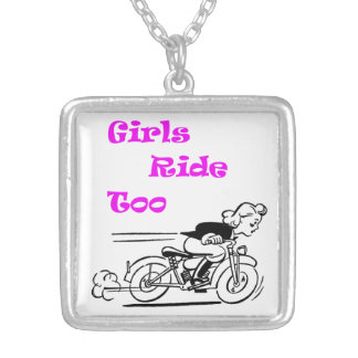 Girls Ride Too Silver Plated Necklace