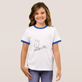 GIRLS' RINGER T-SHIRT - BIRD ON ROOF TOP