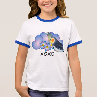 Girls Ringer T-Shirt with Parrot Cockatiel