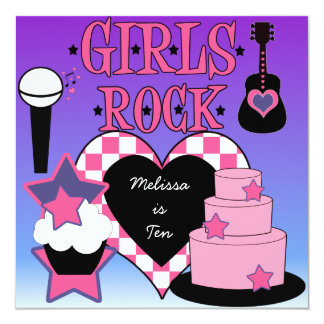 Girls Rock Birthday Invitation