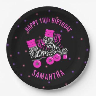 Girl's Roller Skate Birthday Party Paper Plate