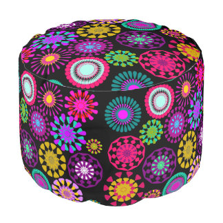 girl's room,cute floral round pouffe