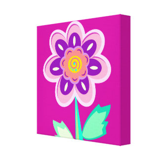 girl's room, flower,edit background color gallery wrap canvas