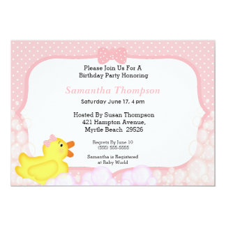 Girls Rubber Ducky Baby Shower Invitations