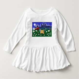 "Girls ruffle dress ""cute fairy"" castle flowers"