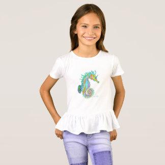 Girl's ruffle seahorse tee shirt