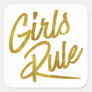 Girls Rule Gold Faux Foil Metallic Glitter Quote Square Sticker