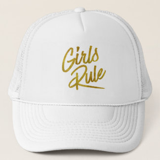 Girls Rule Gold Faux Foil Metallic Glitter Quote Trucker Hat