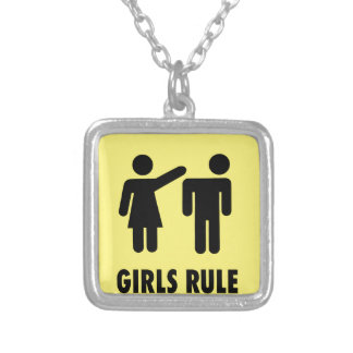 Girls rule silver plated necklace