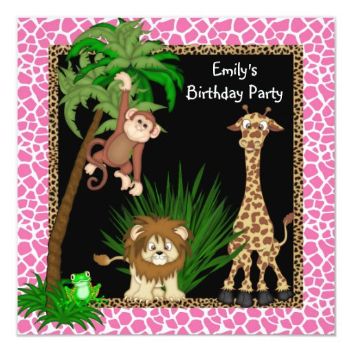 Girls Safari Birthday Party 13 Cm X 13 Cm Square Invitation Card