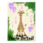 Girls Safari Giraffe Birthday Party Invitation