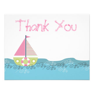 Girls Sail Boat Birthday Thank You Note Cards