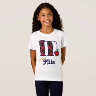 Girls School Monogram Shirt Apple Initial M