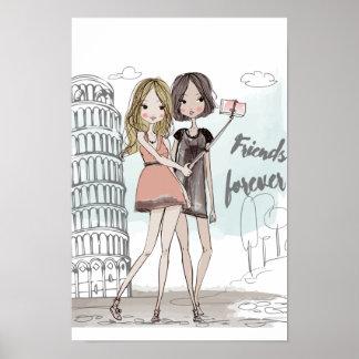 Girls selfie illustration in Pisa Italy Poster