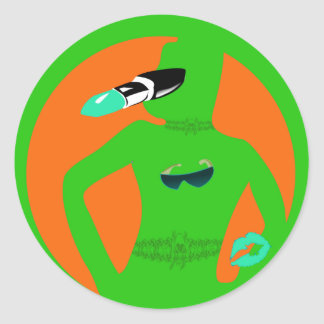Girls Silhouette Lipstick and Sunglasses Round Sticker